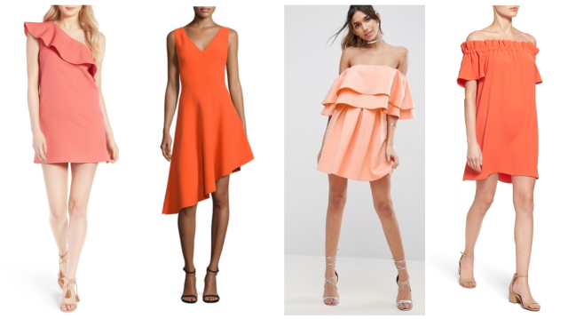 orange dress collage